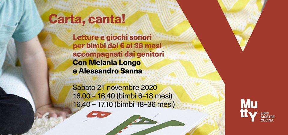 ANNULLATO! Carta, canta! Letture e giochi sonori per bimbi 6-36 mesi | con Melania Longo